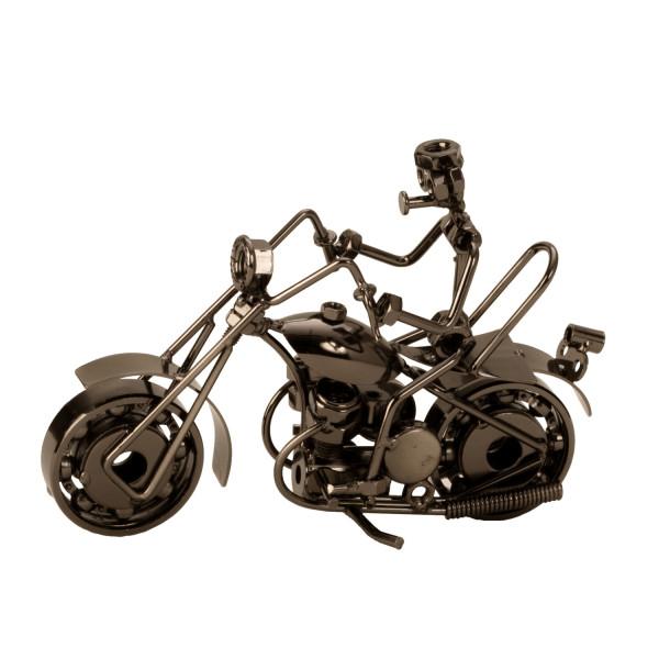 Skulptur Dekofigur Motorrad aus Metall silber Breite 20cm Höhe 13,5cm