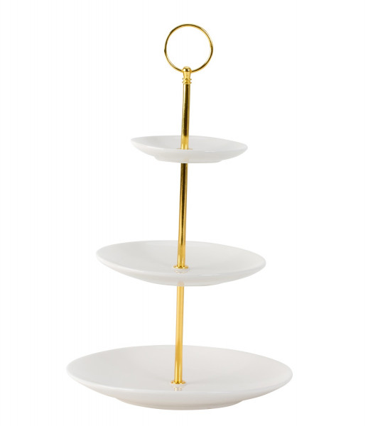 Etagere Gebäckschale Obstschale aus Porzellan mit 3 Ebenen und Griff aus Edelstahl gold Höhe 35 cm