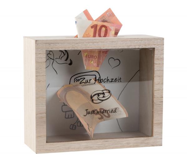 Practical money box money box wedding cash box made of wood/glass 18x15 cm
