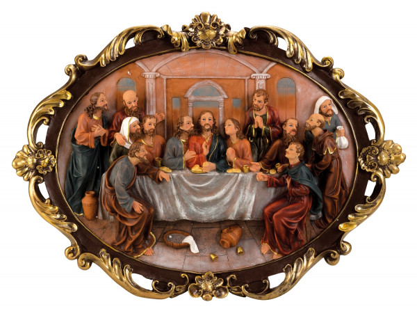 Exclusive large wall painting the last supper with beautiful decorations Height 63 cm Width 86 cm