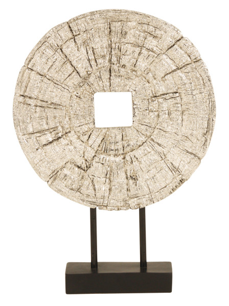Edles Deko Objekt chromfarben aus Kunststein Höhe 33 cm inklusive Sockel