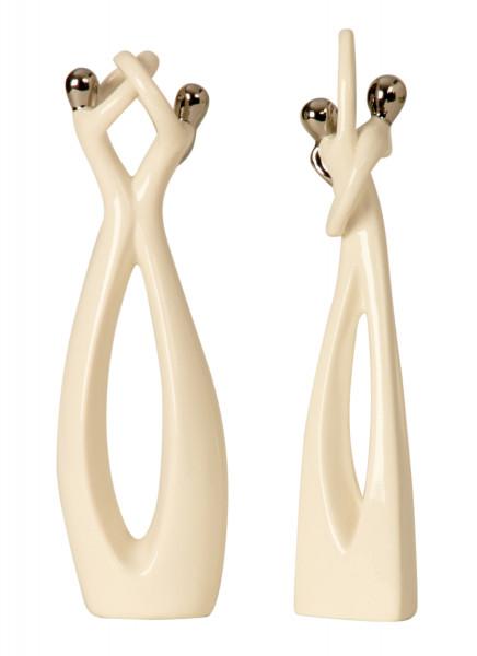 Moderne Skulptur Liebespaar 2 Stück aus Keramik in weiß Höhe 29+30 cm