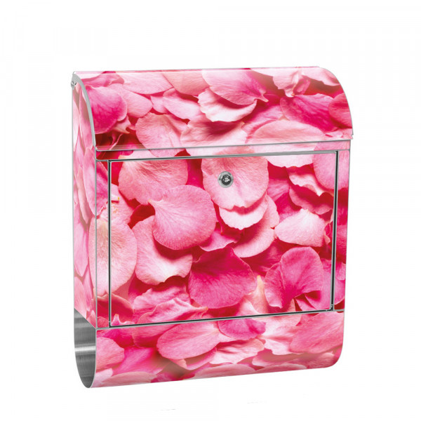 Stainless Steel Letterbox with Newspaper roll & Motif Flowers love Love Red | No. 0188