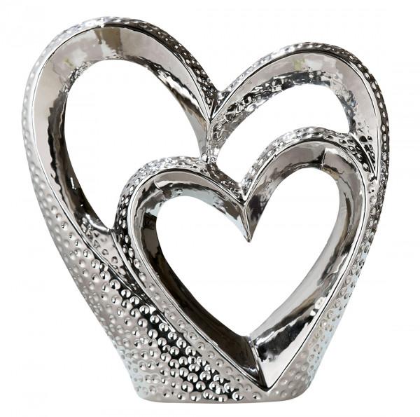 Moderne Herz Skulptur Dekofigur aus Keramik silber 26x25 cm