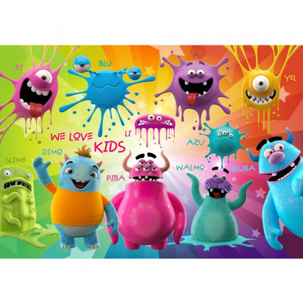 Vlies Fototapete Lovely Monsters Kindertapete Tapete Kinderzimmer Kindertapete Comic Party Knuddel