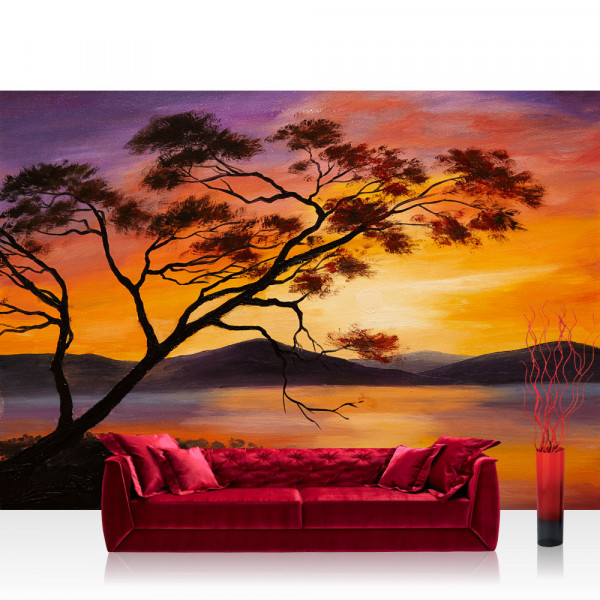 Vlies Fototapete Sonnenuntergang Tapete Sonnenuntergang Baum Natur Romantisch Urlaub grau
