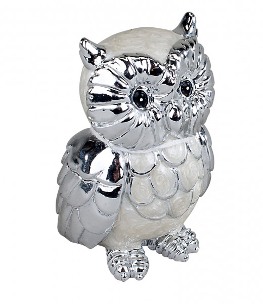 Modern and exclusive owl sculpture made of ceramic pearlescent look Height 7 cm