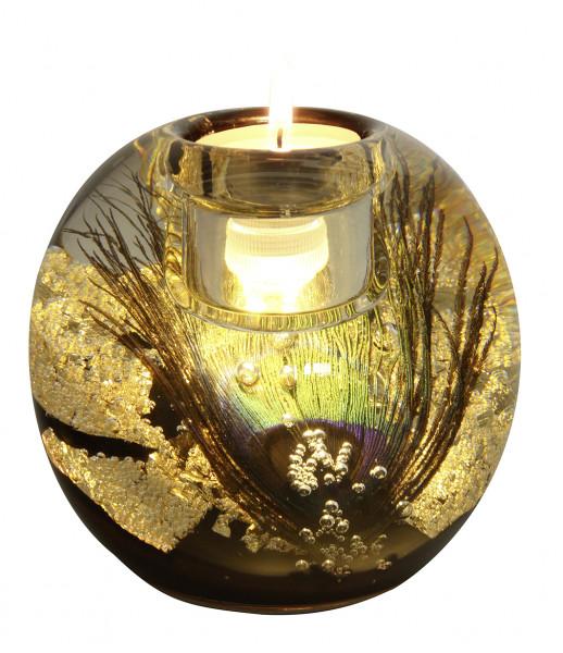 Modern tealight holder Windlight holder 'Mercur' made of glass 10x11 cm Including LED light
