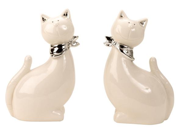 Moderne Katzen Skulptur Dekofigur mit silbernem Halstuch aus Keramik weiß/silber Höhe 22 cm Breite 1