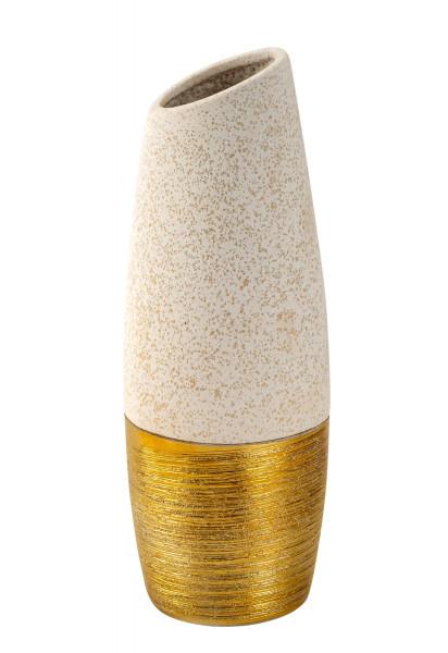 Moderne Dekovase Blumenvase Tischvase Vase aus Keramik beige/gold Höhe 27 cm