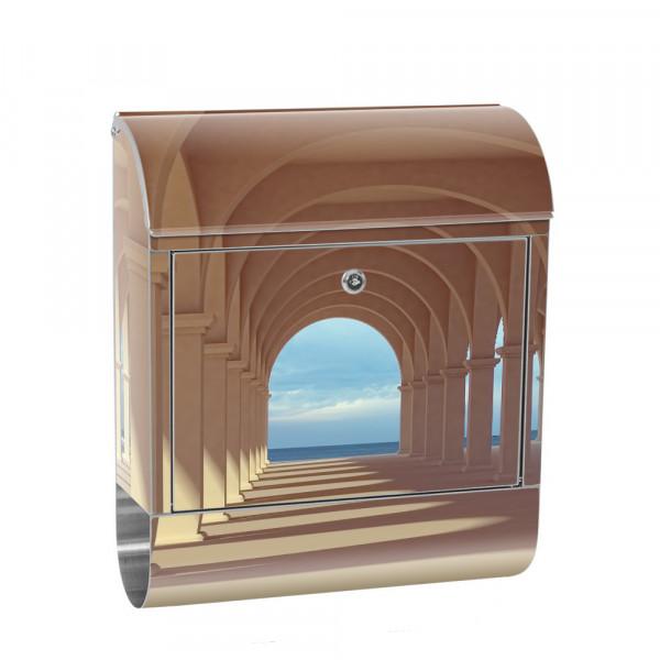 Edelstahlbriefkasten mit Zeitungsrolle & Motiv 3D Perspektive Säulen | no. 0069