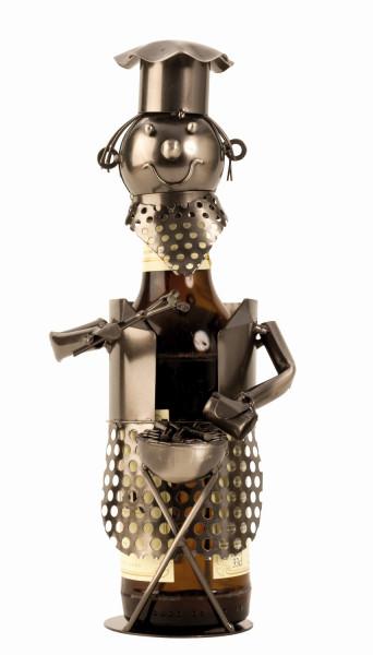 Moderner Bier Flaschenhalter Flaschenständer Grillmeister aus Metall in silber Höhe 28 cm