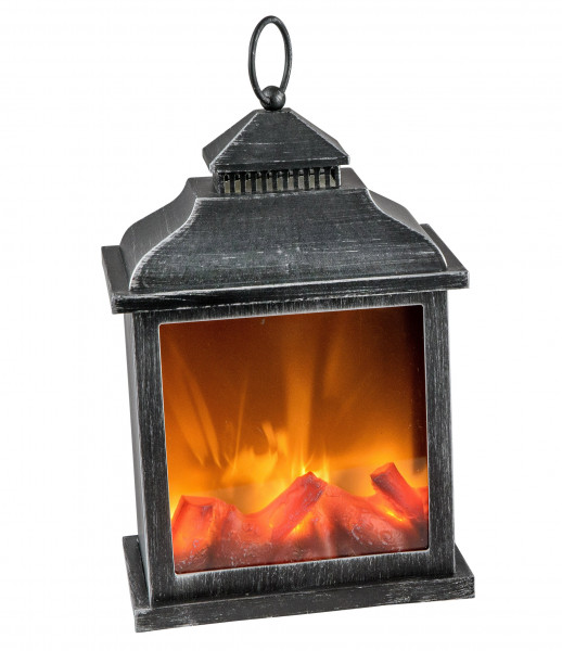 LED table fireplace fireplace LED lantern with timer black plastic 20x12x30 cm