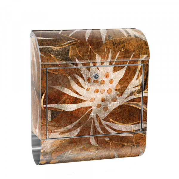 Stainless Steel Letterbox with Newspaper roll & Motif abstract 3D Flowers old | No. 0057