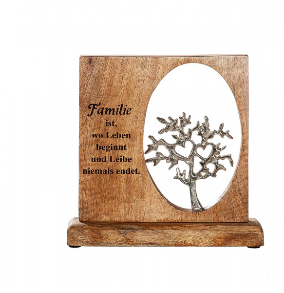 Modern lettering stand frame FAMILY silver tree of life on mango wood 23x5x23 cm