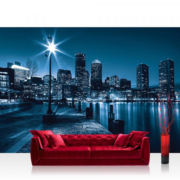 Vlies Fototapete New York Tapete Laterne Nacht Skyline Lichter Fluss blau