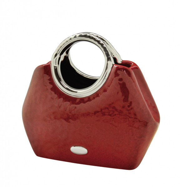 Modern deco vase flower vase sculpture 'Milano' in the form of a handbag ceramic red / silver 25x21