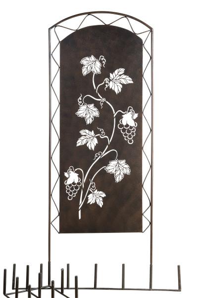 Moderner Gartenstecker Gartenskulptur Gartenschild Weinrebe aus Metall braun stehend 45x95 cm