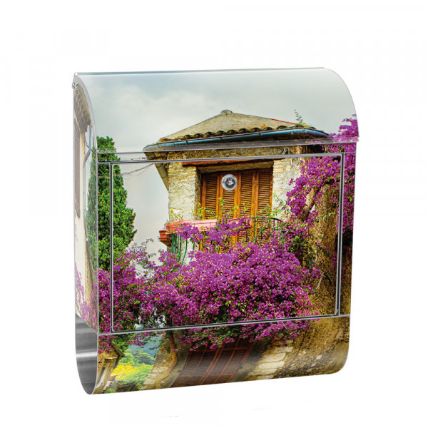 Stainless Steel Letterbox with Newspaper roll & Motif France romantic | No. 0226