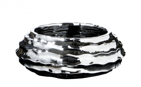 Large decorative bowl fruit bowl 'Ripple' made of ceramic silver 33x33 cm