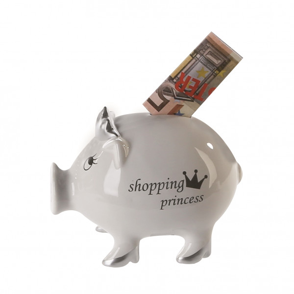 Exclusive Spardose Sparschwein Shopping Princess made of ceramic white / silver Height 12,5 cm B 15,