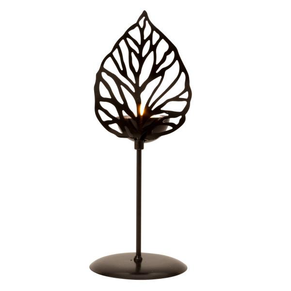 Moderner Teelichthalter Teelichtleuchter Blatt aus Metall schwarz/silber Höhe 27 cm