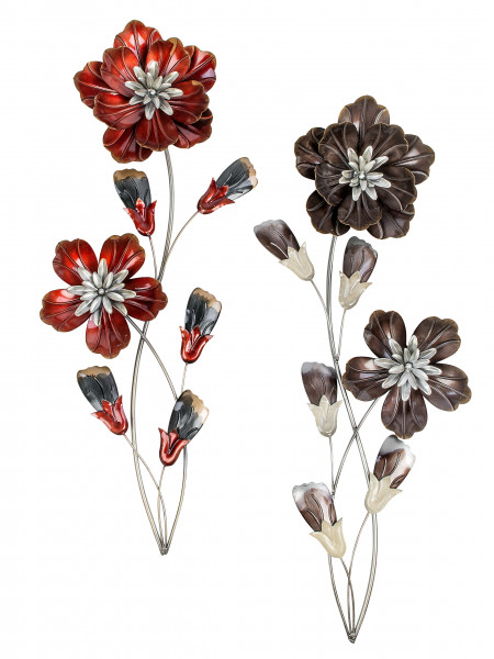 Extravagant walldecoration flower metal red or brown height 68 cm