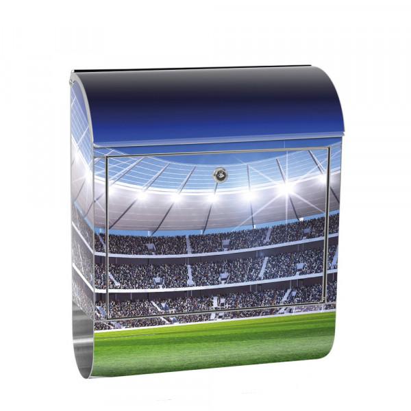 Edelstahlbriefkasten mit Zeitungsrolle & Motiv Fußballstadion Rasen | no. 0945