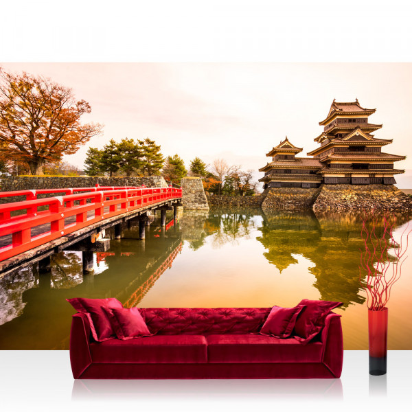 Vlies Fototapete Japan Tapete Japan Brücke Wasser Ruhe Romantisch lila