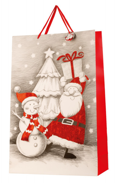 Huge XXL Christmas gift bag with glitter in a set of 2 dimensions 50x72x16cm