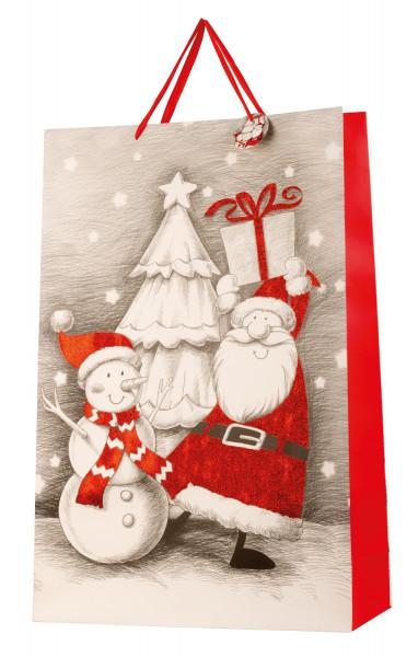 Riesige XXL Geschenktüte Weihnachten mit Glitzer im 2er Set Abmessung 50x72x16cm