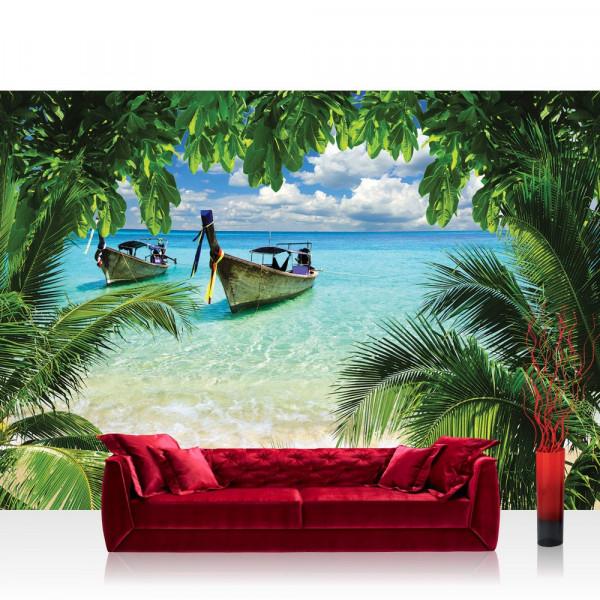 Vlies Fototapete Meer Tapete Strand Meer Boot Palme Wolken türkis