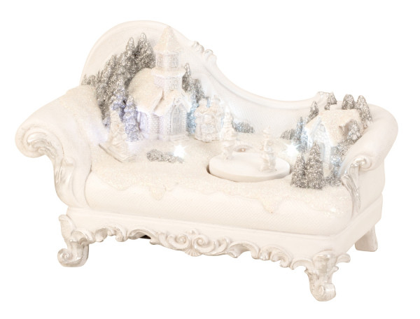 Modern winter landscape on a sofa with LED and movement of ceramics in white height 13 cm