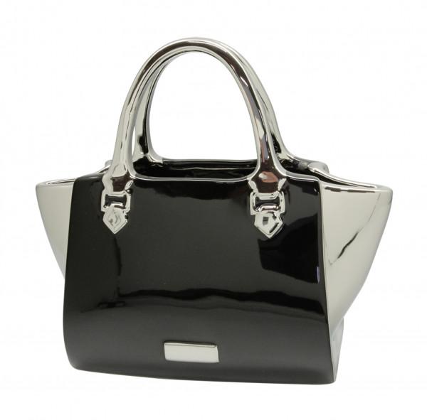 Modern deco vase flower vase sculpture handbag 'Milano' ceramic black / silver 28x15 cm