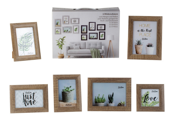 Modern picture frame photo frame set 6 pieces for standing and hanging including gift box brown