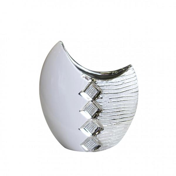 Moderne Deko Vase Blumenvase Tischvase aus Keramik weiß/silber mit Perlenreihe 21x28 cm