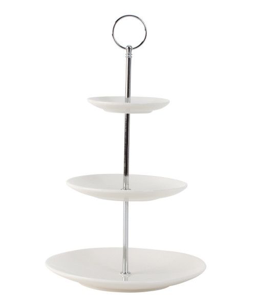 Etagere Pastry Bowl Porcelain Fruit Bowl with 3 Levels and Stainless Steel Handle Height 35 cm