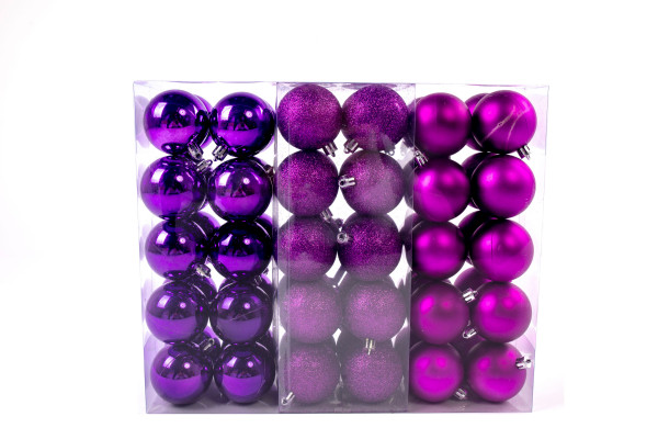 Large Christmas balls set 61 pieces Ø 6 cm Purple including star lace Christmas tree decorations