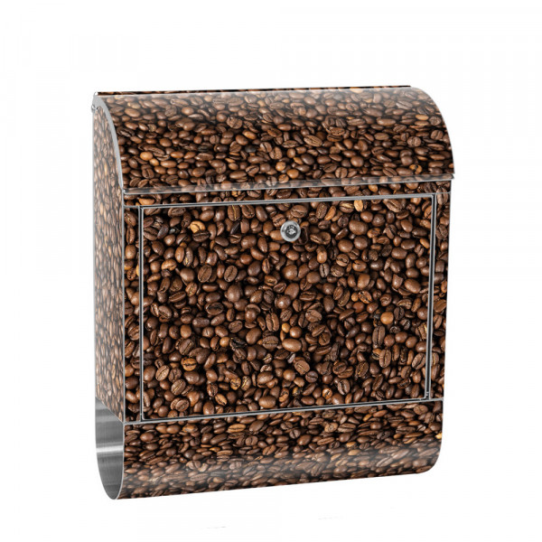Stainless Steel Letterbox with Newspaper roll & Motif Coffee beans Aroma | No. 0177