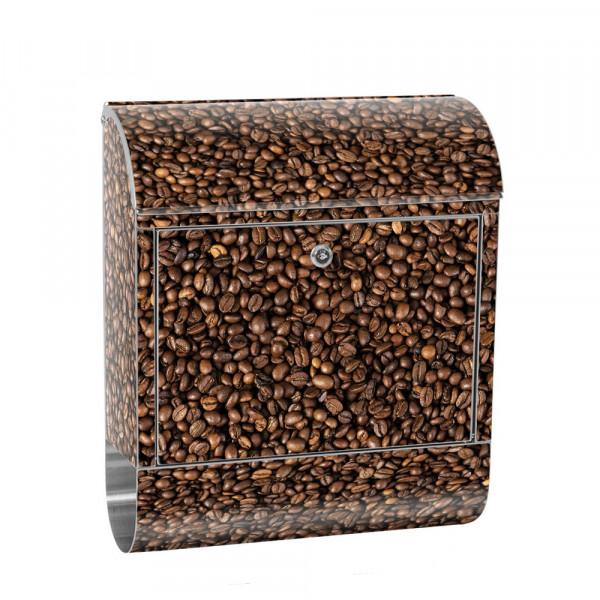 Edelstahlbriefkasten mit Zeitungsrolle & Motiv Kaffee Bohnen Aroma | no. 0177