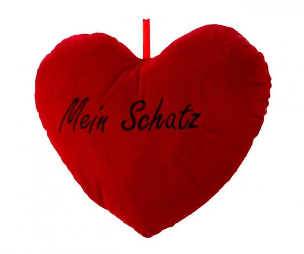 Kuscheliges weiches Herzkissen mit Aufschrift Mein Schatz Höhe 25 cm Breite 33 cm