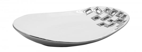 Moderne Dekoschale Obstschale Schale 'Torino' aus Keramik weiß/silber 23x32 cm