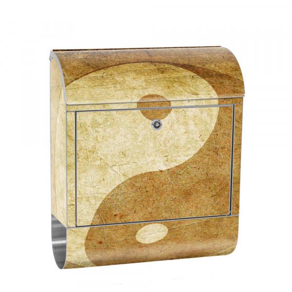 Edelstahlbriefkasten mit Zeitungsrolle & Motiv Abstrakt Yin Yang Ruhe | no. 0213