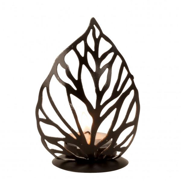 Moderner Teelichthalter Teelichtleuchter Blatt aus Metall schwarz/silber Höhe 13cm
