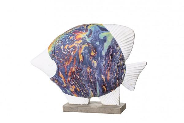 Moderne Skulptur Dekofigur Fisch Colori weiß bunt auf Sockel Höhe 20,5 cm Breite 28 cm
