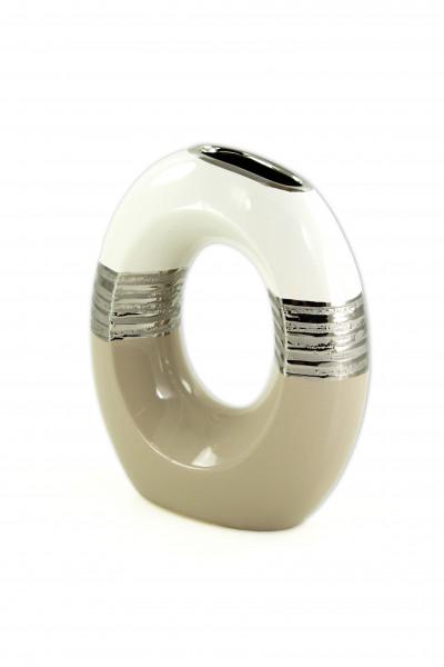 Modern deco vase flower vase table vase made of ceramic in white / beige height 23x28 cm