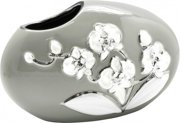 Modern deco vase flower vase ceramic table vase gray / white / silver 20x13 cm