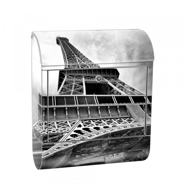 Stainless Steel Letterbox with Newspaper roll & Motif Eiffel Tower Paris Cloud | No. 0635