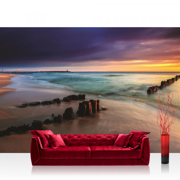 Vlies Fototapete Meer Tapete Strand Meer Sonnenuntergang Himmel Sommer Urlaub Wasser blau