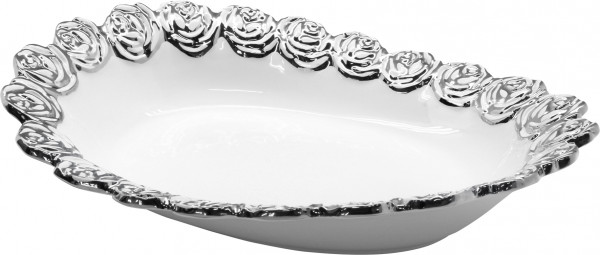 Beautiful deco bowl Obtschale bowl ceramic white / silver 32x16 cm